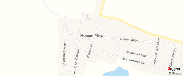 Улица 30 лет Победы на карте поселка Нового Мира с номерами домов
