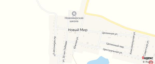 Целинный переулок на карте поселка Нового Мира с номерами домов