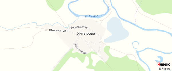 Карта деревни Ялтырова в Челябинской области с улицами и номерами домов