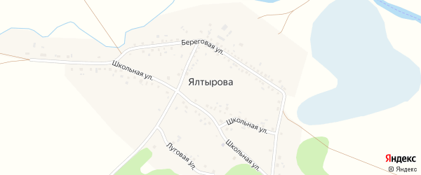 Школьная улица на карте деревни Ялтырова с номерами домов