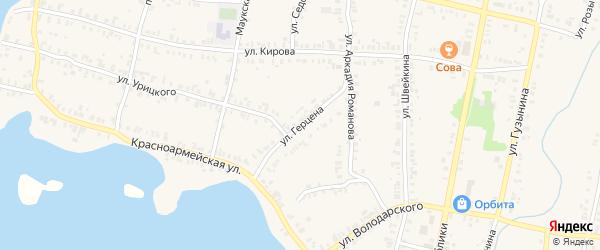 Улица Герцена на карте Кыштыма с номерами домов