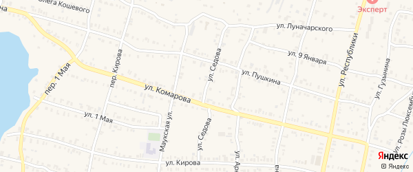 Улица Седова на карте Кыштыма с номерами домов