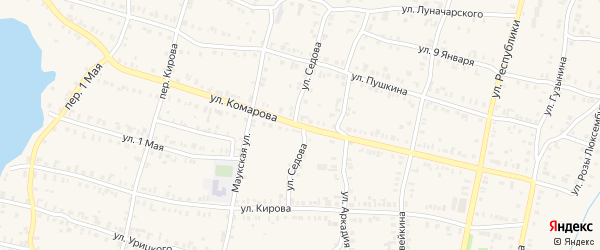 Улица Комарова на карте Кыштыма с номерами домов
