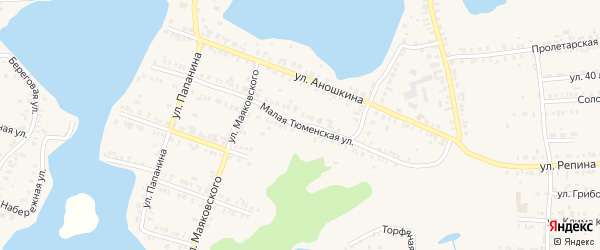 Малая Тюменская улица на карте Кыштыма с номерами домов