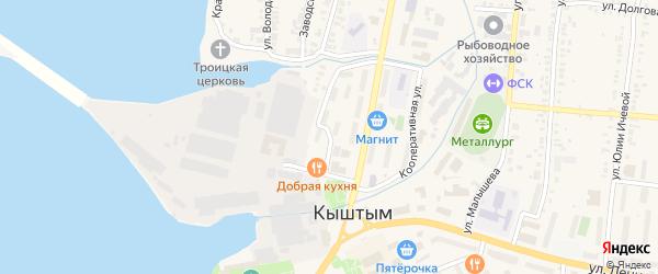 Улица Дзержинского на карте Кыштыма с номерами домов