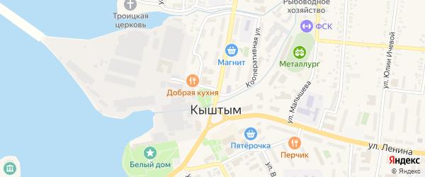Кооперативная улица на карте Кыштыма с номерами домов