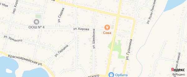 Улица Швейкина на карте Кыштыма с номерами домов