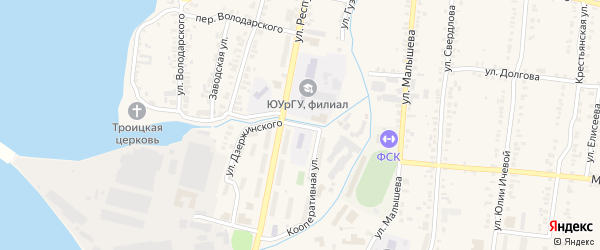 Улица Металлургов на карте Кыштыма с номерами домов