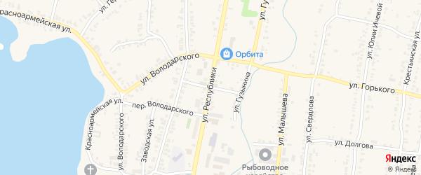 Переулок Республики на карте Кыштыма с номерами домов