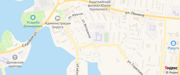 Улица Ветеранов на карте Кыштыма с номерами домов