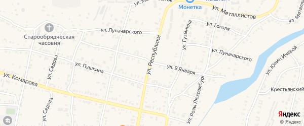 Улица 9 Января на карте Кыштыма с номерами домов