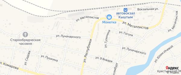 Улица Луначарского на карте Кыштыма с номерами домов