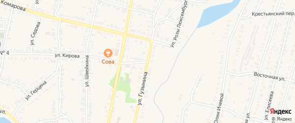 Улица Гузынина на карте Кыштыма с номерами домов