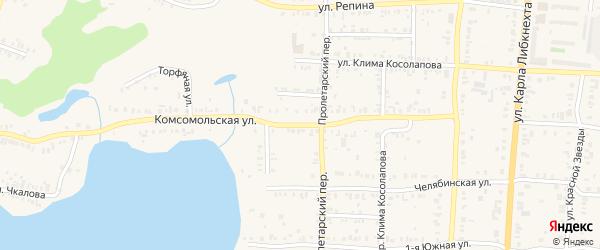 Комсомольская улица на карте Кыштыма с номерами домов
