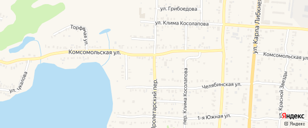 Пролетарский переулок на карте Кыштыма с номерами домов