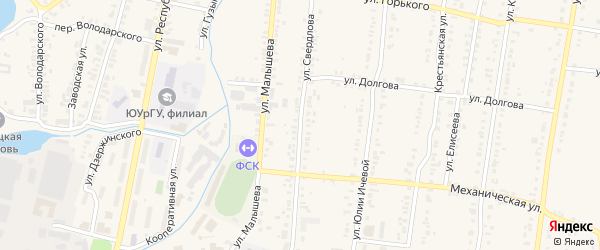 Улица Свердлова на карте поселка Южной Кузнечихи с номерами домов