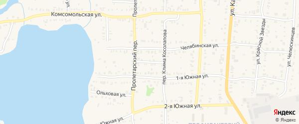 Солнечная улица на карте Кыштыма с номерами домов