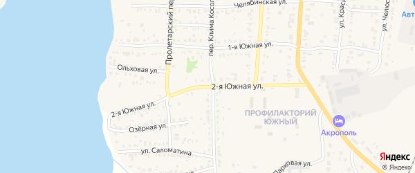 Южная 2-я улица на карте Кыштыма с номерами домов