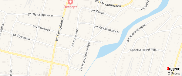 Улица Розы Люксембург на карте Кыштыма с номерами домов