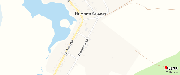 Улица Чапаева на карте деревни Нижние Караси с номерами домов