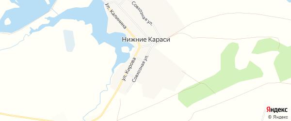Карта деревни Нижние Караси в Челябинской области с улицами и номерами домов