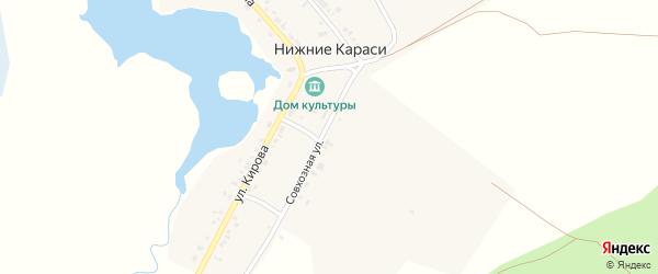 Совхозная улица на карте деревни Нижние Караси с номерами домов
