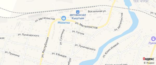 Улица Гоголя на карте Кыштыма с номерами домов