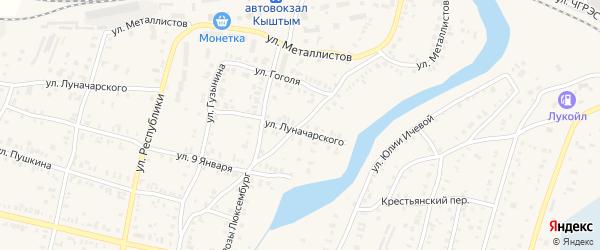 Нижне-Кыштымская улица на карте Кыштыма с номерами домов