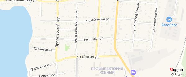 Южная 1-я улица на карте Кыштыма с номерами домов