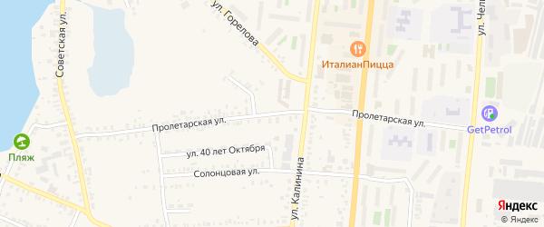 Пролетарская улица на карте Кыштыма с номерами домов