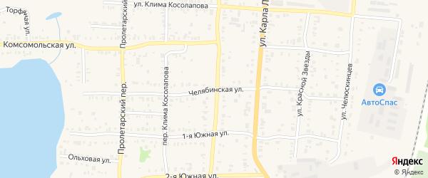Челябинская улица на карте Кыштыма с номерами домов