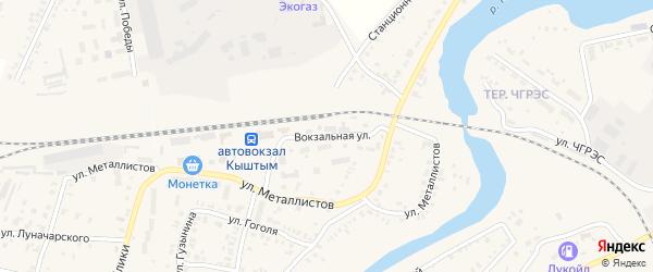 Вокзальная улица на карте Кыштыма с номерами домов