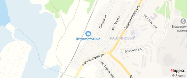 Железнодорожная улица на карте Кыштыма с номерами домов