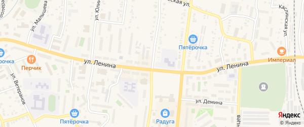 Улица Калинина на карте поселка Южной Кузнечихи с номерами домов
