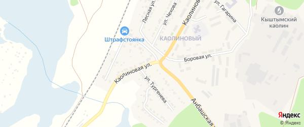 Каолиновая улица на карте Кыштыма с номерами домов