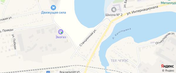 Станционная улица на карте Кыштыма с номерами домов
