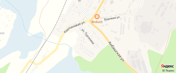 Улица Тургенева на карте Кыштыма с номерами домов