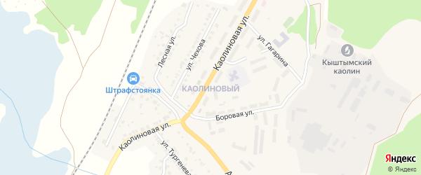 Территория ГСК Каолиновый на карте Кыштыма с номерами домов