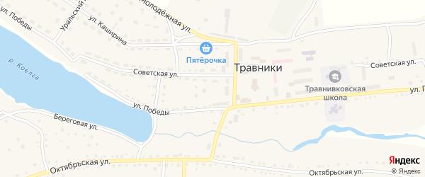 Солнечная улица на карте села Травники с номерами домов