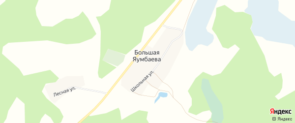 Карта деревни Большая Яумбаева в Челябинской области с улицами и номерами домов