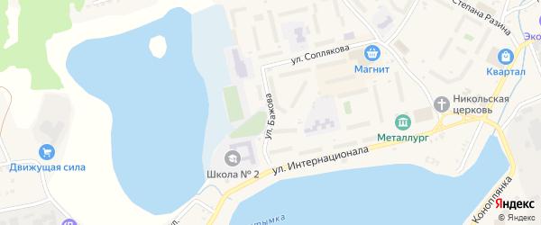 Улица Бажова на карте Кыштыма с номерами домов