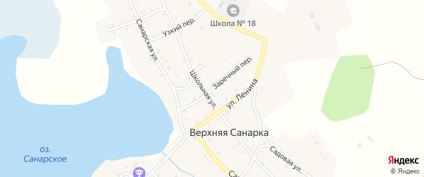 Заречный переулок на карте села Верхней Санарки с номерами домов