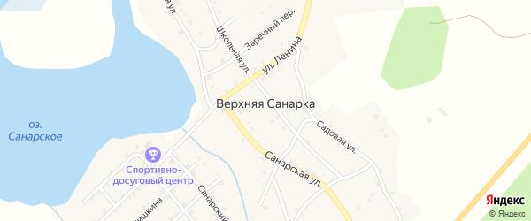 Заречная улица на карте села Верхней Санарки с номерами домов