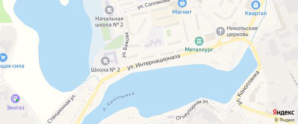 Улица Интернационала на карте Кыштыма с номерами домов