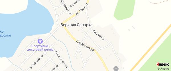 Кривой переулок на карте села Верхней Санарки с номерами домов