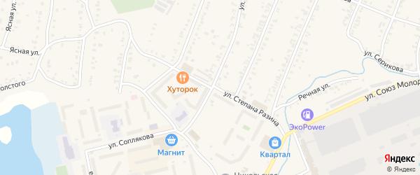 Улица Степана Разина на карте Кыштыма с номерами домов