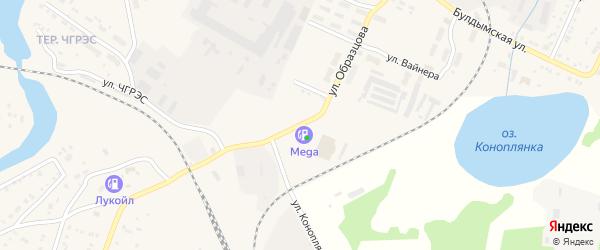 Улица Образцова на карте Кыштыма с номерами домов