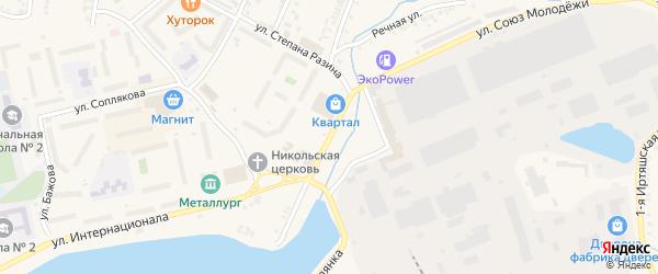 Улица Возмездия на карте Кыштыма с номерами домов