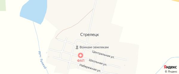 Улица Труда на карте поселка Стрелецка с номерами домов