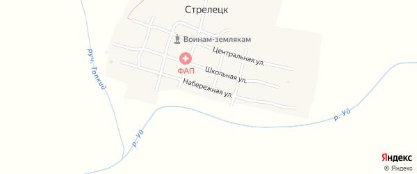 Набережная улица на карте поселка Стрелецка с номерами домов